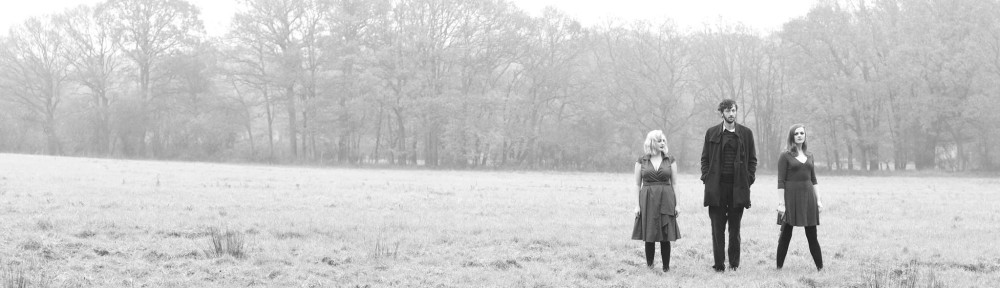Alt-folk band Thickets standing in a misty field